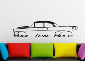 Large Custom car silhouette wall sticker - for 1956 Chevrolet 210 , 2-door DRAG CAR | classic